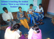 """Salama is teaching the stuedent leaders""""How to use follow-up booklet?"""""""